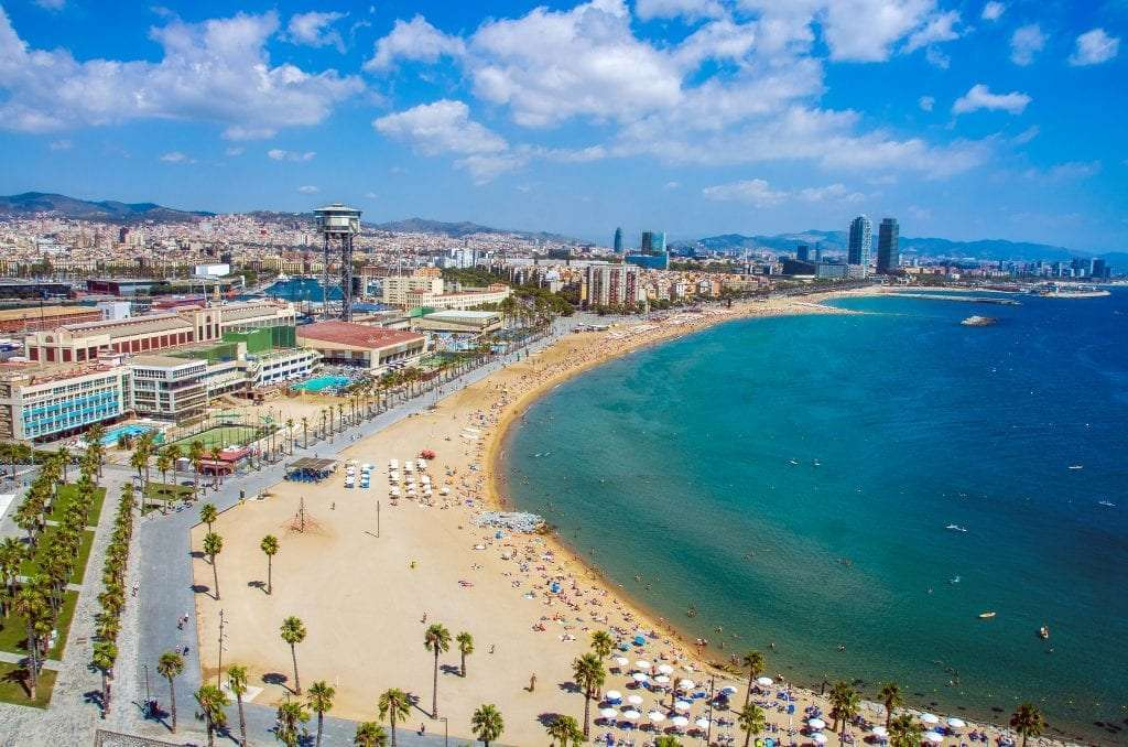 Barcelona, beach and city in Spain